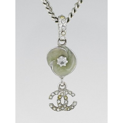 Chanel Silvertone Swarovski Crystal CC and Flower Necklace