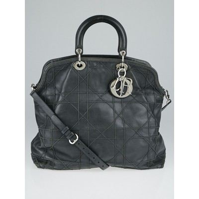 Christian Dior Grey Cannage Quilted Lambskin Leather Large Granville Tote Bag