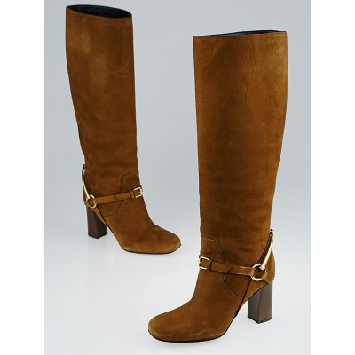 Gucci Brown Nubuck Leather Tess Tall Boots Size 4.5/35