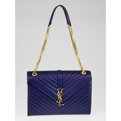 Yves Saint Laurent New Marine Quilted Grained Leather Monogram Chain Cassandre Bag