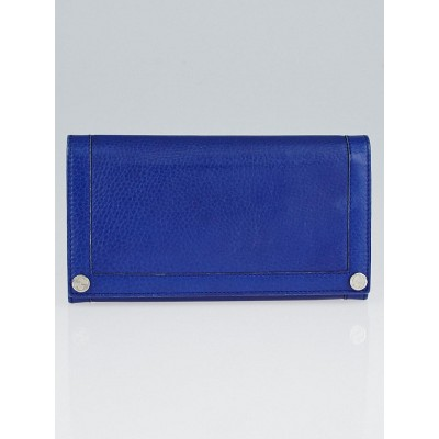 Gucci Blue Pebbled Leather GG Long Wallet