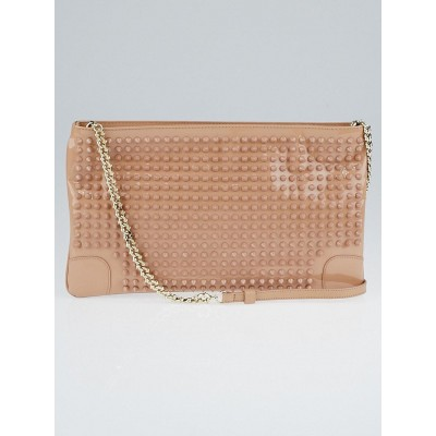 Christian Louboutin Nude Patent Leather Loubiposh Spiked Clutch Bag