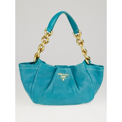 Prada Pavone Vitello Daino Leather Chain Shoulder Bag
