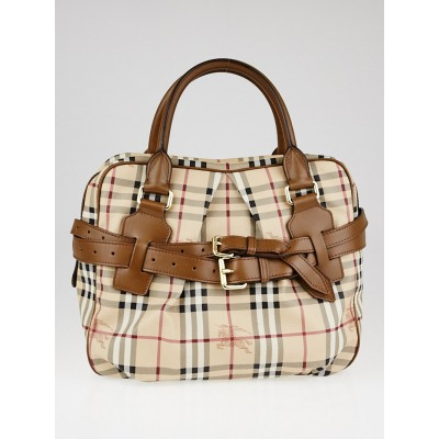 Burberry Toffee Leather Haymarket Check Coated Canvas Medium Bowden Bag
