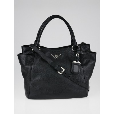 Prada Black Vitello Daino Leather Side-Pocket Tote Bag BR5120