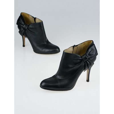 Valentino Black Leather Bow Ankle Boots Size 5/35.5
