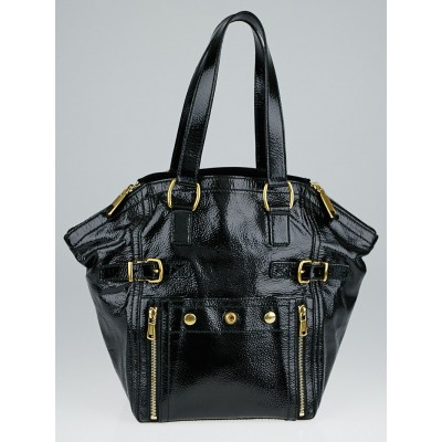 Yves Saint Laurent Black Patent Leather Small Downtown Bag