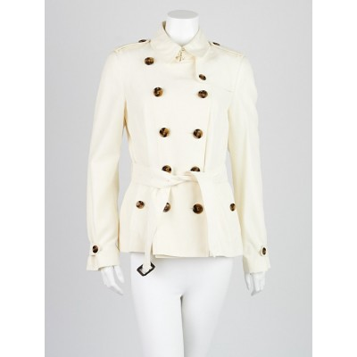 Burberry London Cream Silk Double Breasted Belted Jacket Size 8