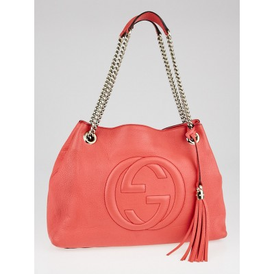 Gucci Coral Pebbled Leather Soho Chain Large Shoulder Bag
