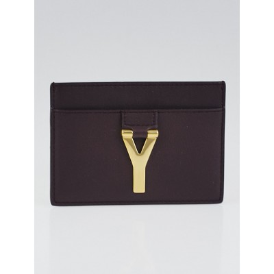 Yves Saint Laurent Leather Brown Smooth Leather Y Card Case