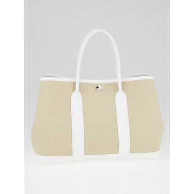 Hermes Beige Canvas and White Negonda Leather Garden Party TPM Tote Bag