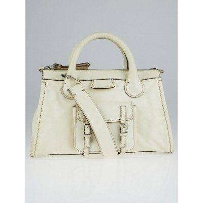 Chloe White Leather Edith Satchel Bag