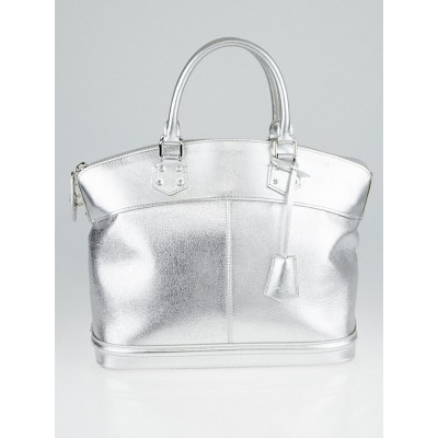 Louis Vuitton Silver Suhali Leather Lockit MM Bag