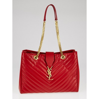 Yves Saint Laurent Red Quilted Grained Leather Monogram Chain Bo Cassandre Tote Bag