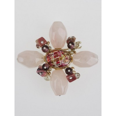 Chanel Goldtone Metal and Pink Beaded CC Bijou Brooch