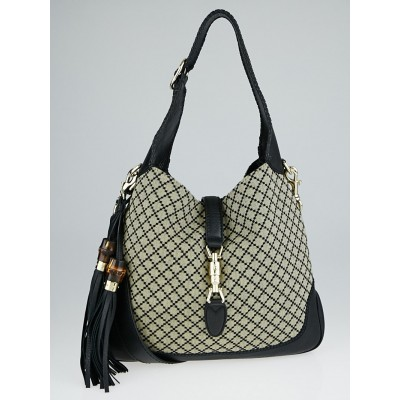 Gucci Beige/Black Diamante Canvas New Jackie Medium Shoulder Bag