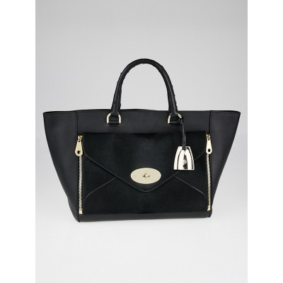 Mulberry Black Calf Leather and Ostrich Willow Tote Bag