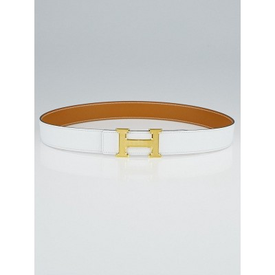 Hermes 32mm White Epsom/Natural Chamonix Leather Gold Plated Constance H Belt Size 85
