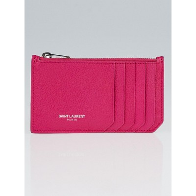 Yves Saint Laurent Fuchsia Grained Leather 5 Fragments Zip Card Case