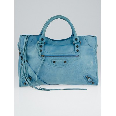 Balenciaga Sky Blue Lambskin Leather Motorcycle City Bag
