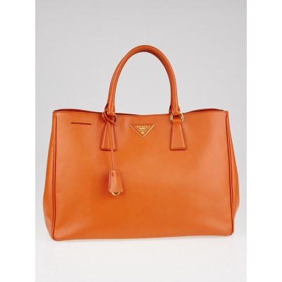 Prada Papaya Saffiano Lux Leather Double Zip Large Tote Bag BN1844