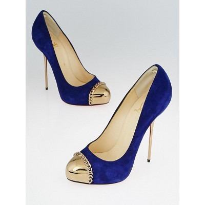 Christian Louboutin Indigo Suede and Goldtone Metal Metallip 120 Pumps Size 6.5/37