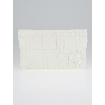 Christian Dior White Cannage Quilted Leather Clutch Bag