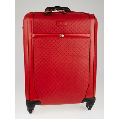 Gucci Red Diamante Leather Wheeled Carry-On Suitcase