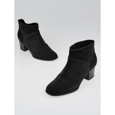Chanel Charcoal Suede Ankle Boots Size 6.5/37