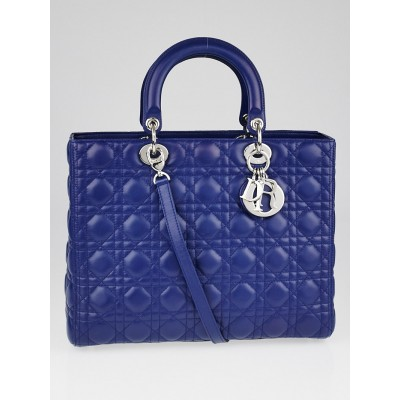 Christian Dior Blue Quilted Cannage Leather Large Lady Dior Bag