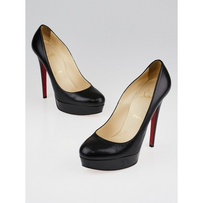 Christian Louboutin Black Leather Bianca 120 Platform Pumps Size 8.5/39