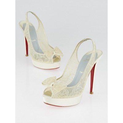 Christian Louboutin White Satin and Lace Exclu 140 Pumps Size 9/39.5