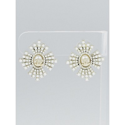 Chanel Faux Pearl CC Burst Earrings