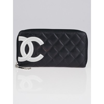 Chanel Black Quilted Leather Cambon Zippy Wallet