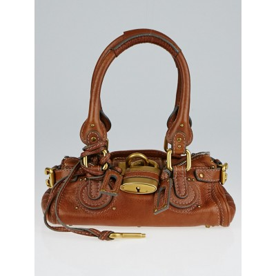 Chloe Brown Leather Paddington Mini Satchel Bag