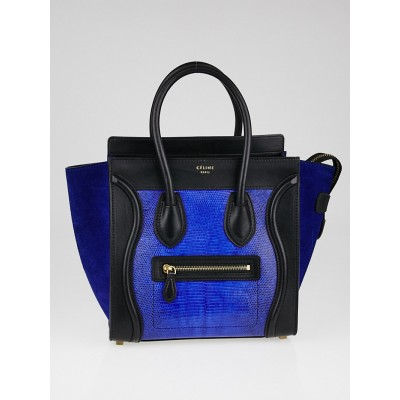 Celine Indigo Lizard and Leather Micro Luggage Tote Bag