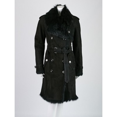 Burberry London Black Shearling Woodgreen Coat Size 10