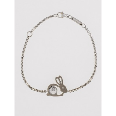 Chopard 18k White Gold 'Rabbit Good Luck' Floating Diamond Bracelet