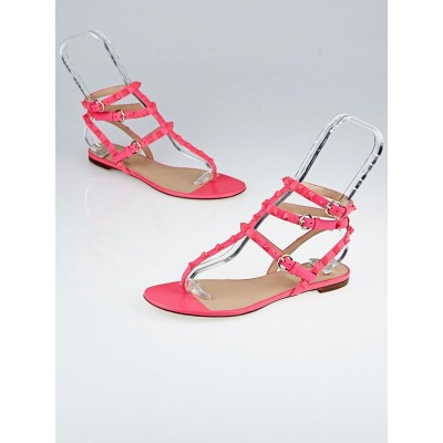 Valentino Neon Pink Leather Rockstud Cage Flat Sandals Size 7.5/38