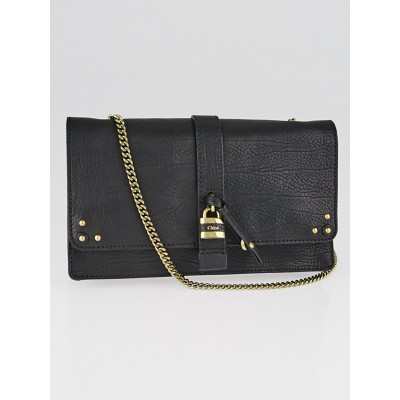 Chloe Black Pebbled Leather Aurore Wallet on Chain Bag