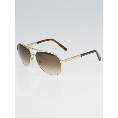 Louis Vuitton Goldtone Damier Pilote Sunglasses-Z0339U