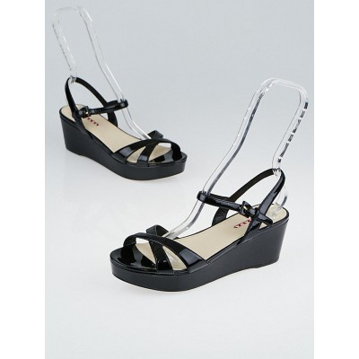 Prada Black Patent Leather Open-Toe Wedge Sandals Size 7.5/38