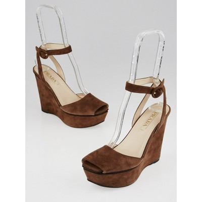 Prada Brown Suede Peep-Toe Wedges Size 7/37.5