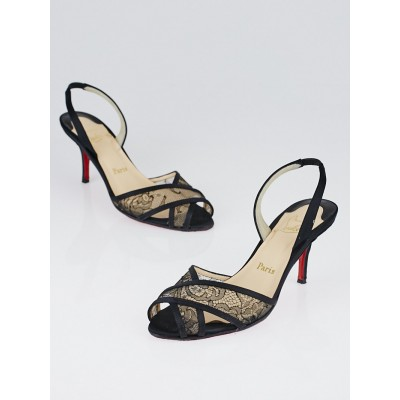 Christian Louboutin Black Satin and Lace Slingback Heels Size 7/37.5