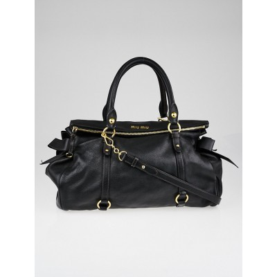 Miu Miu Black Pebbled Leather Large Bow Top Handle Bag