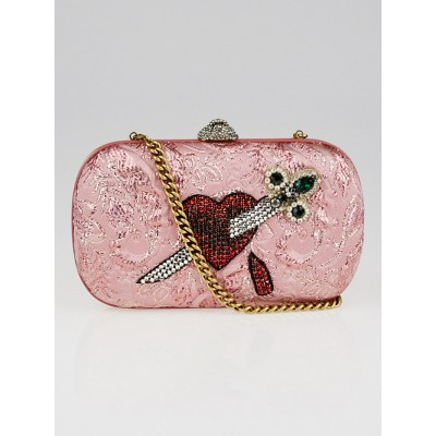 Gucci Rose Lurex Brocade Fabric Embroidered Broadway Box Clutch Bag