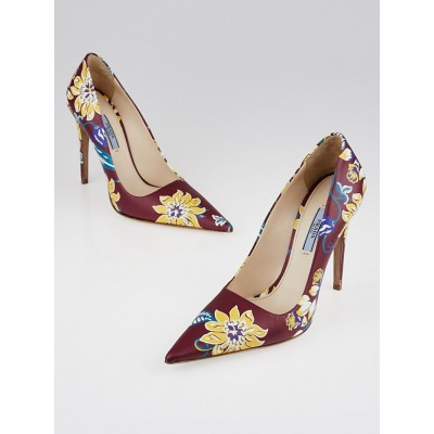 Prada Red Multicolor Floral Print Saffiano Leather Pointed-Toe Pumps Size 8.5/39