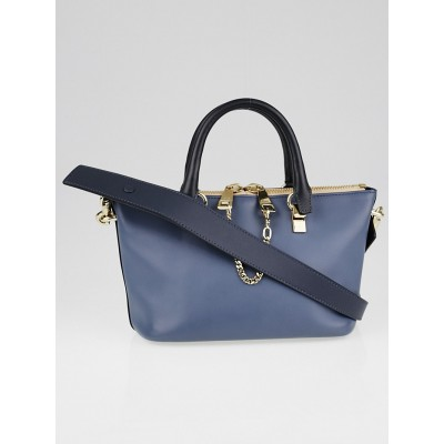 Chloe Two-Tone Blue Calfskin Leather Mini Baylee Bag