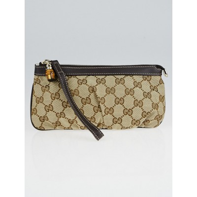 Gucci Beige/Ebony GG Canvas Bamboo Wristlet Bag
