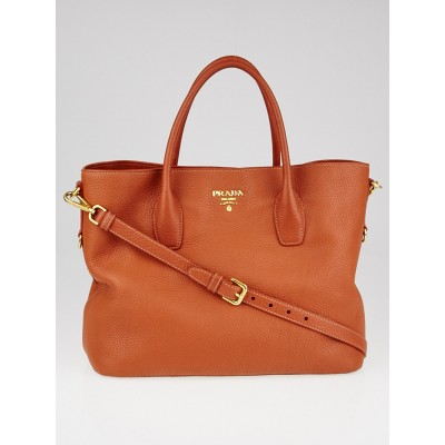 Prada Rame Vitello Daino Leather Shopping Tote Bag BN2317